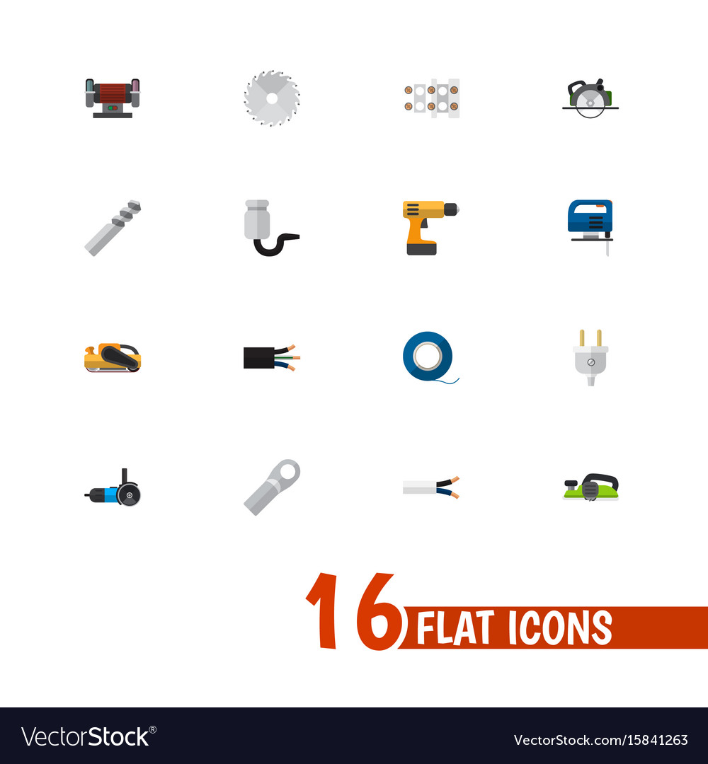Set of 16 editable electric icons includes vector image