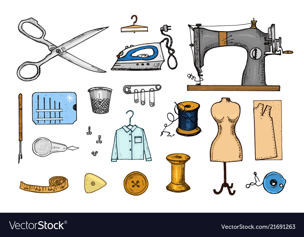 Set of sewing tools and materials or elements for