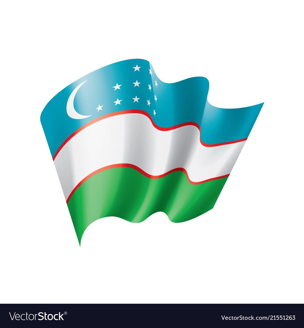Uzbekistan flag on a white