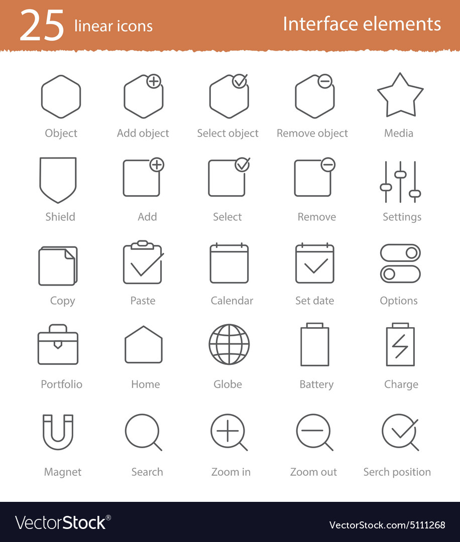 25 linear icons set