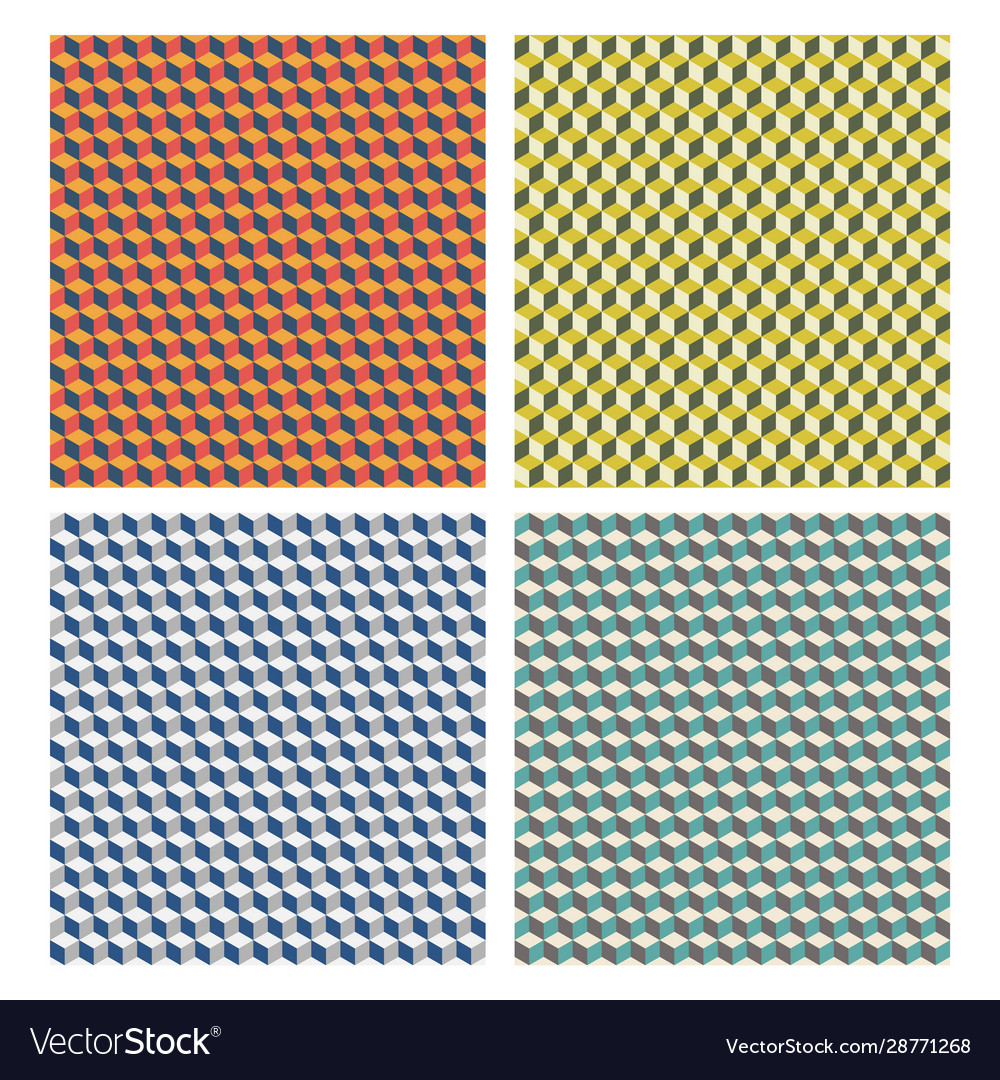 Abstract geometric seamless patterns cubes