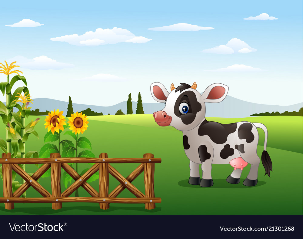 Cartoon cow with farm background