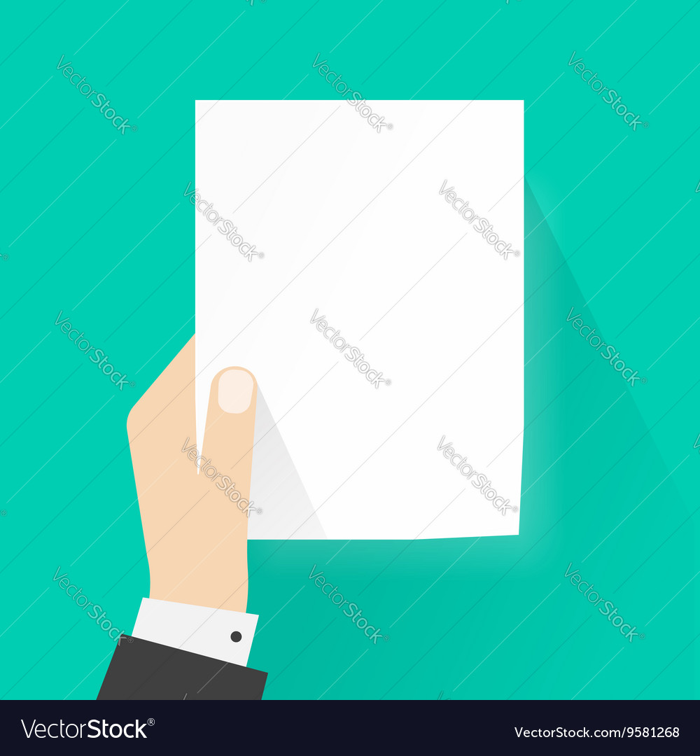 Hand holding paper mockup empty vector image