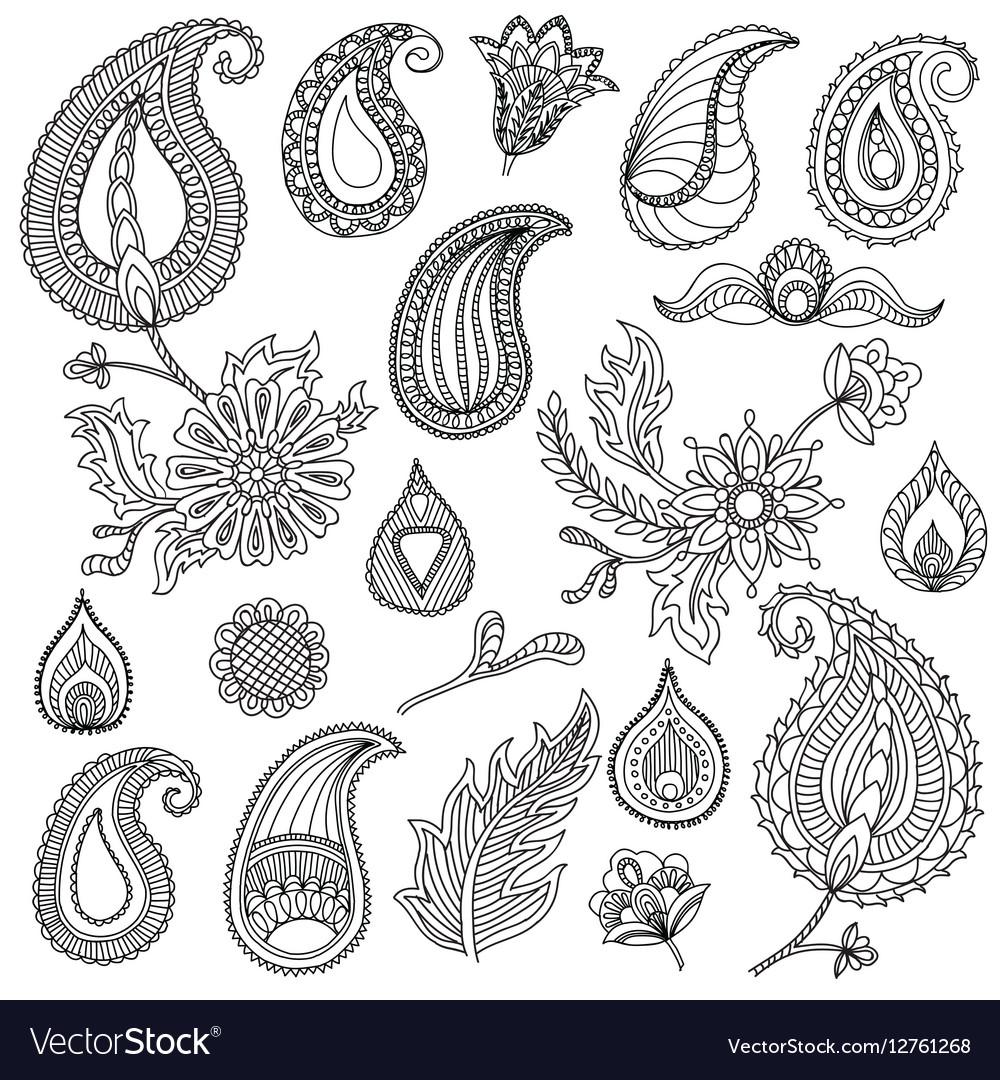 Hand sketched vintage elements like leaves
