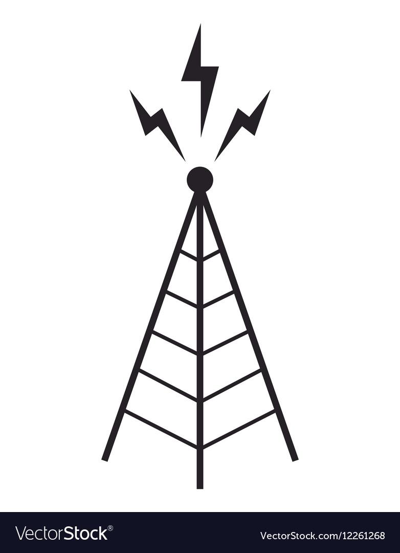 Radio tower antenna communication mast vector image
