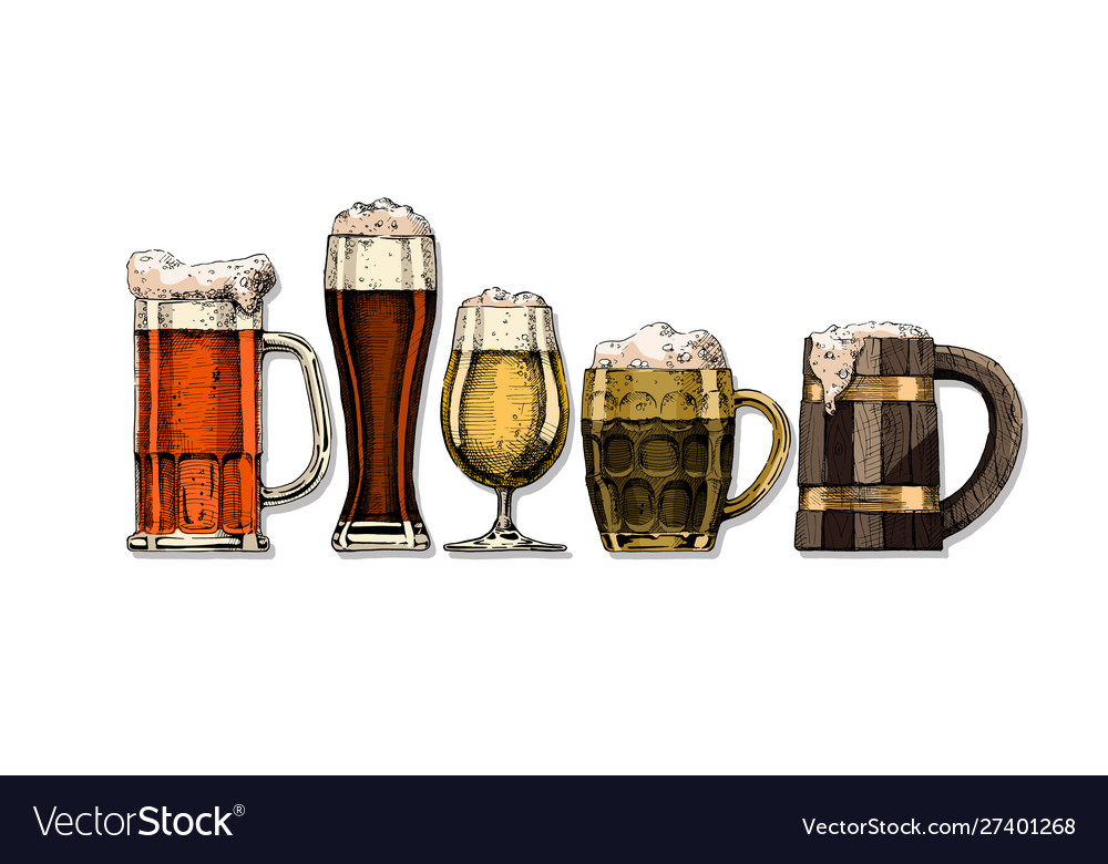 Set beer glasses vector
