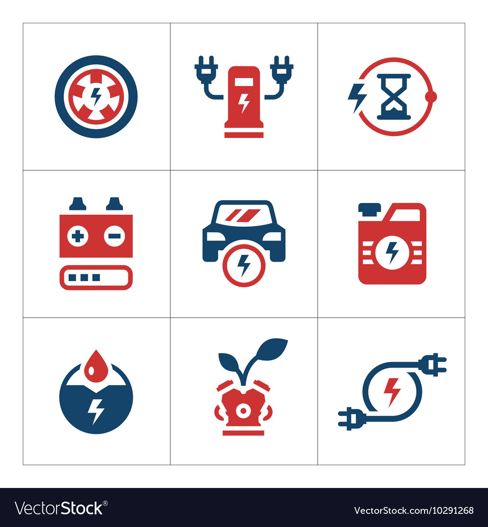 Set color icons of electric car