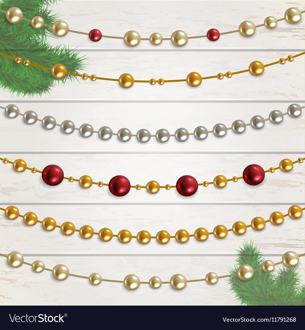 Set Garland Beads Royalty Free Vector Image Vectorstock