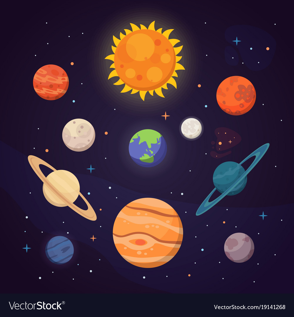 Set of colorful bright planets solar system