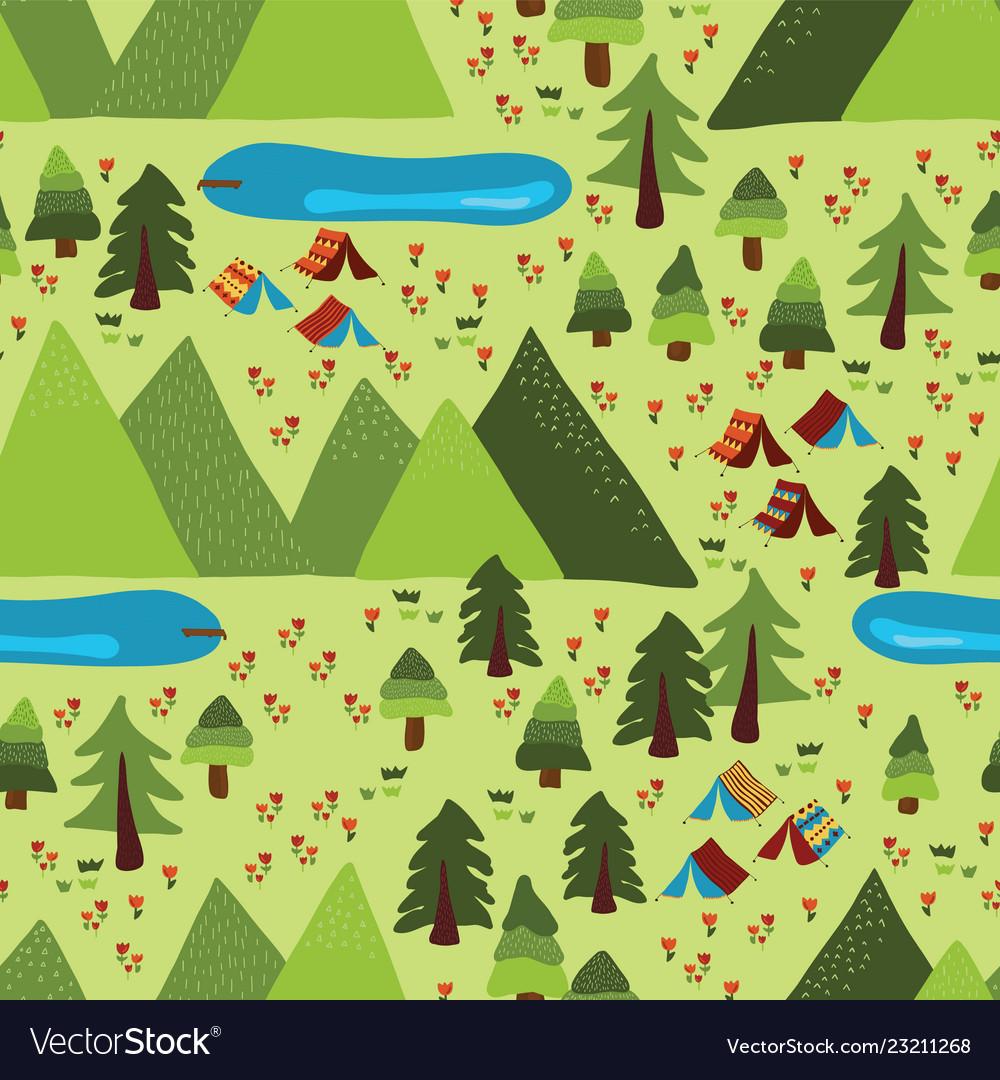 Summer mountain camping seamless pattern