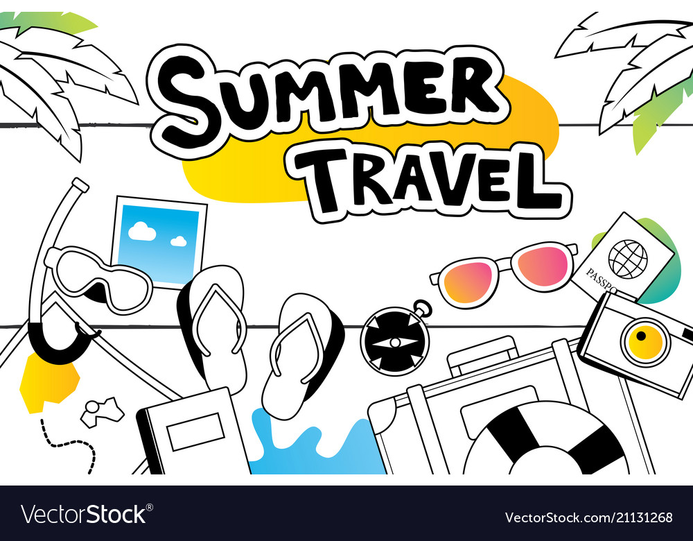 Summer travel doodle symbol and objects icon