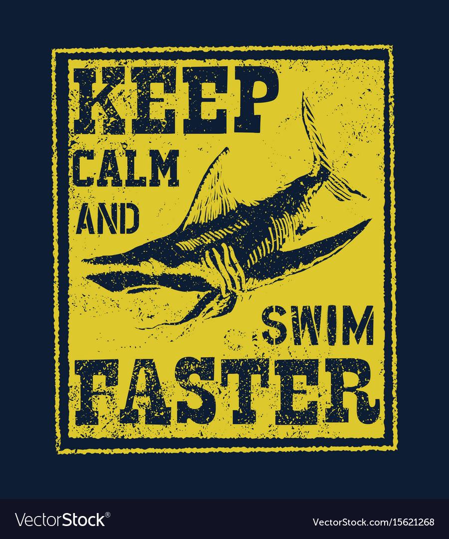 T shirt print design shark vintage stamp