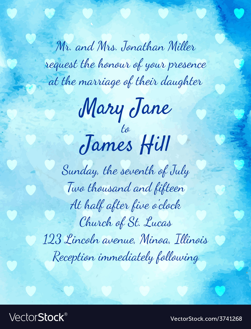 Wedding Invitation with watercolor background