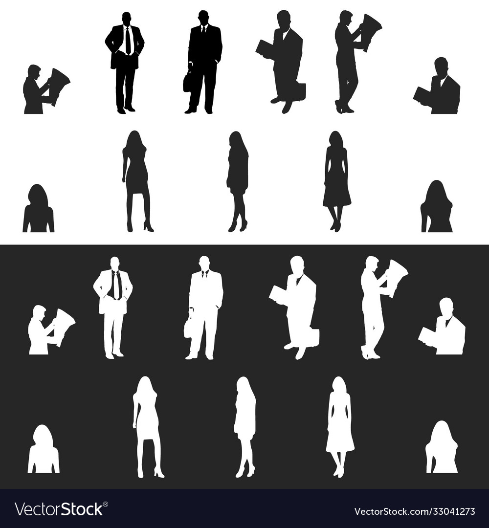 Business men and women silhouette icon