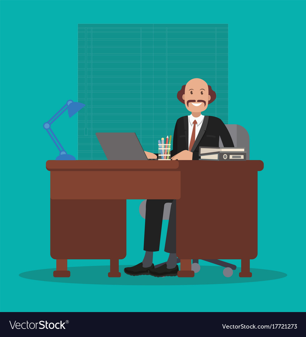 Businessman is sitting at the table at work flat