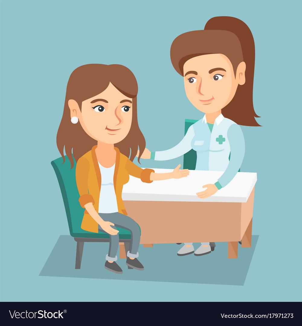 Caucasian Therapist Doctor Consulting Patient Vector Image