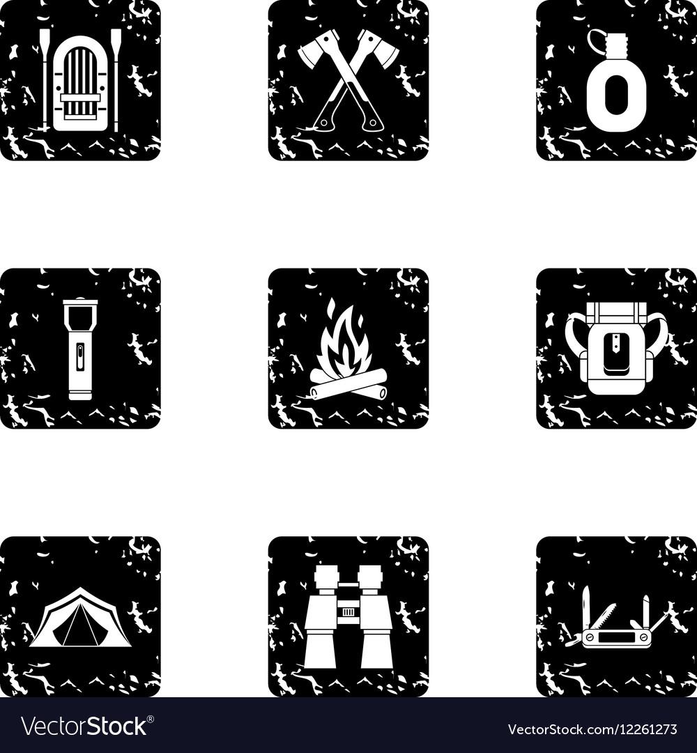Forest icons set grunge style