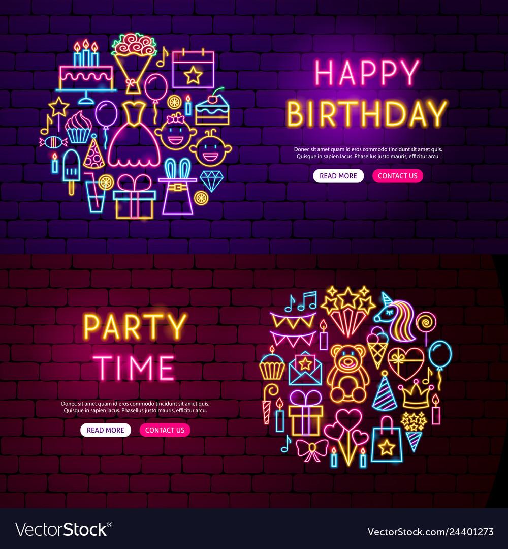 Happy birthday website banners