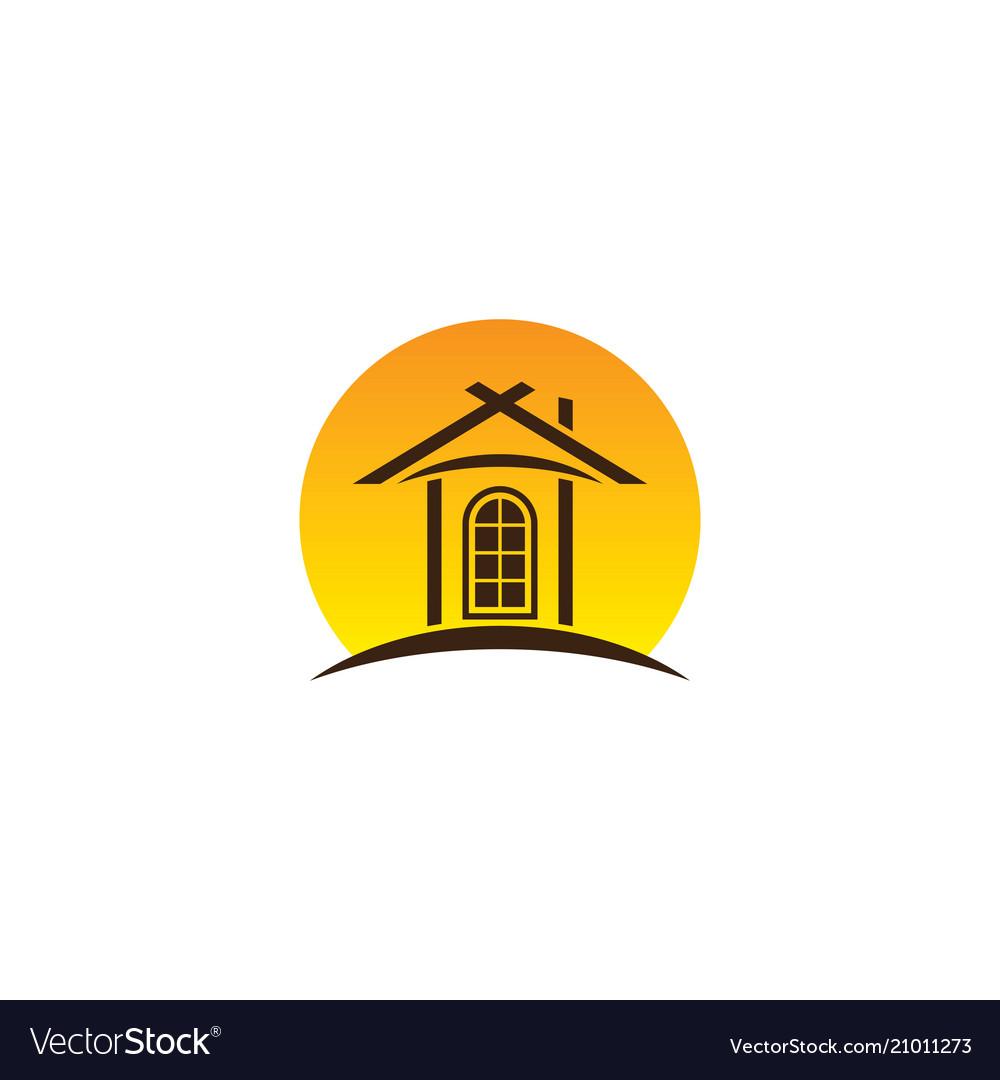 Home sun business building travel logo