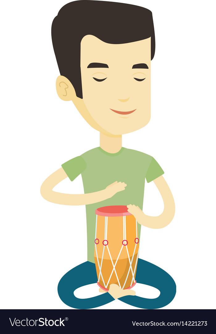 Man playing ethnic drum vector image