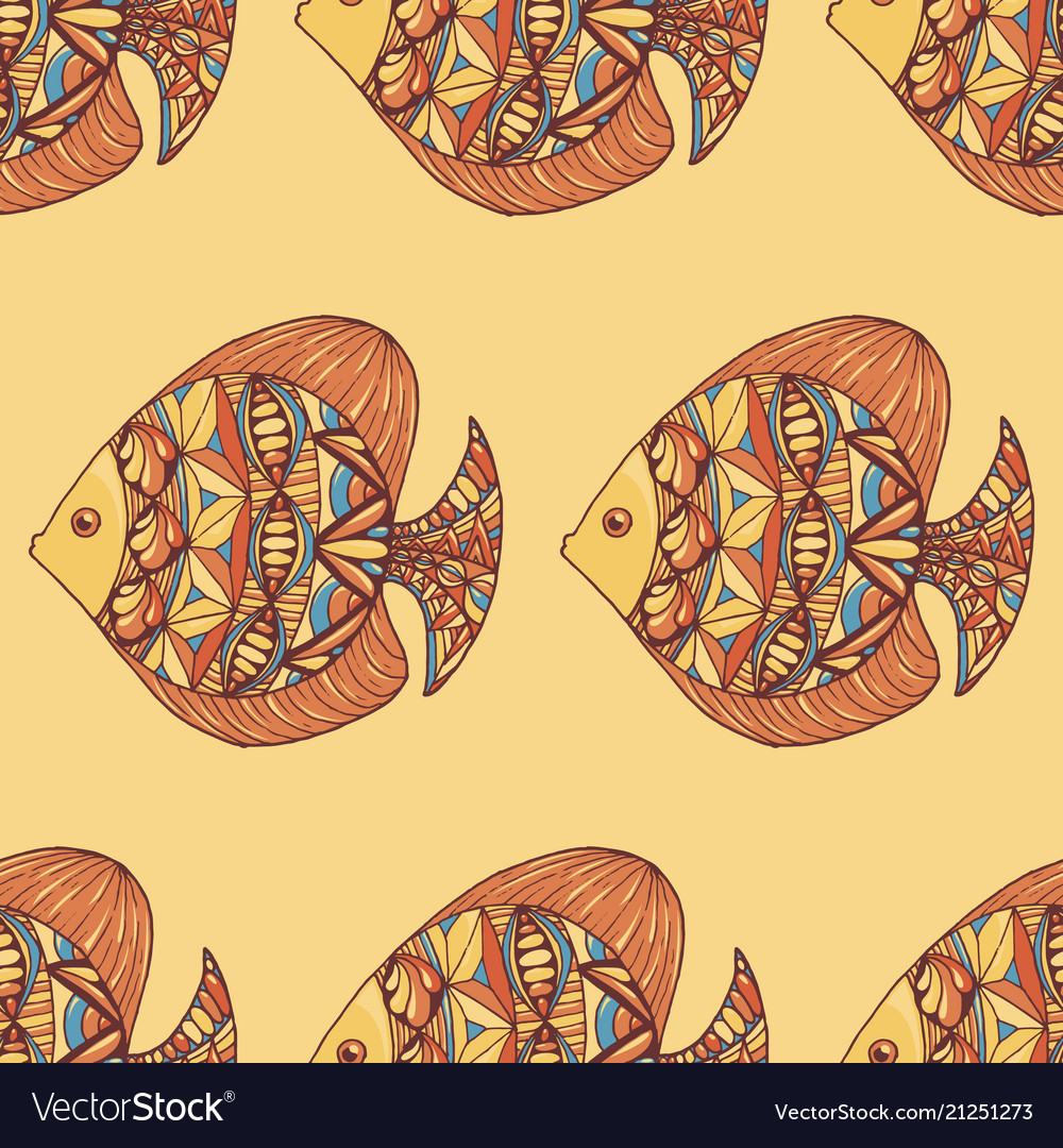 Ornated fish pattern with yellow background
