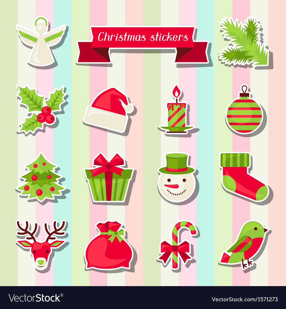 Christmas Stickers.Set Of Merry Christmas Stickers