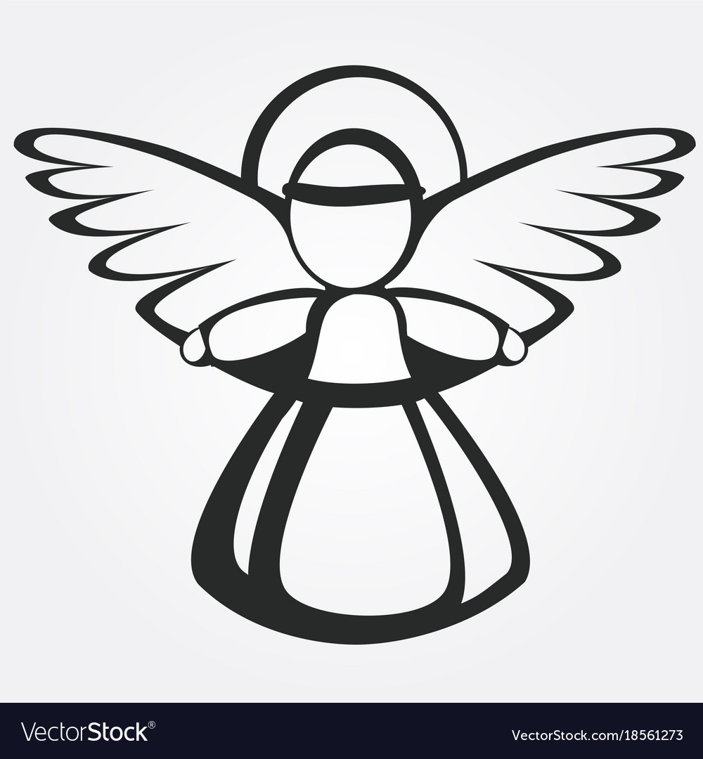 Silhouette of the christmas angel vector image