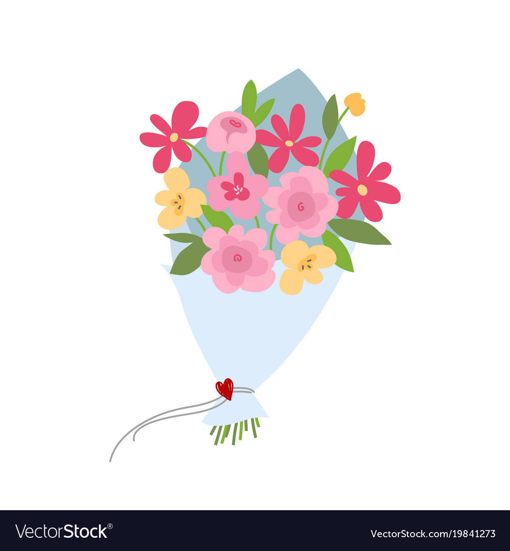 Spring Bouquet Flowers Valentines Day Wedding Vector Image