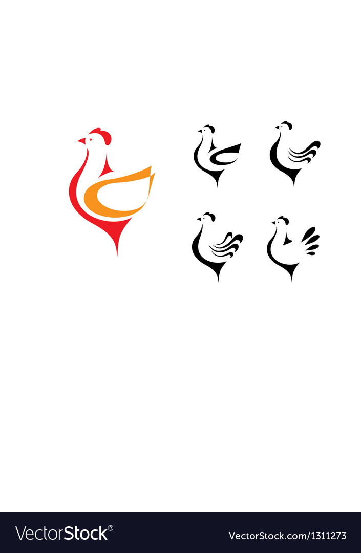 Stylized hens on the white background vector image