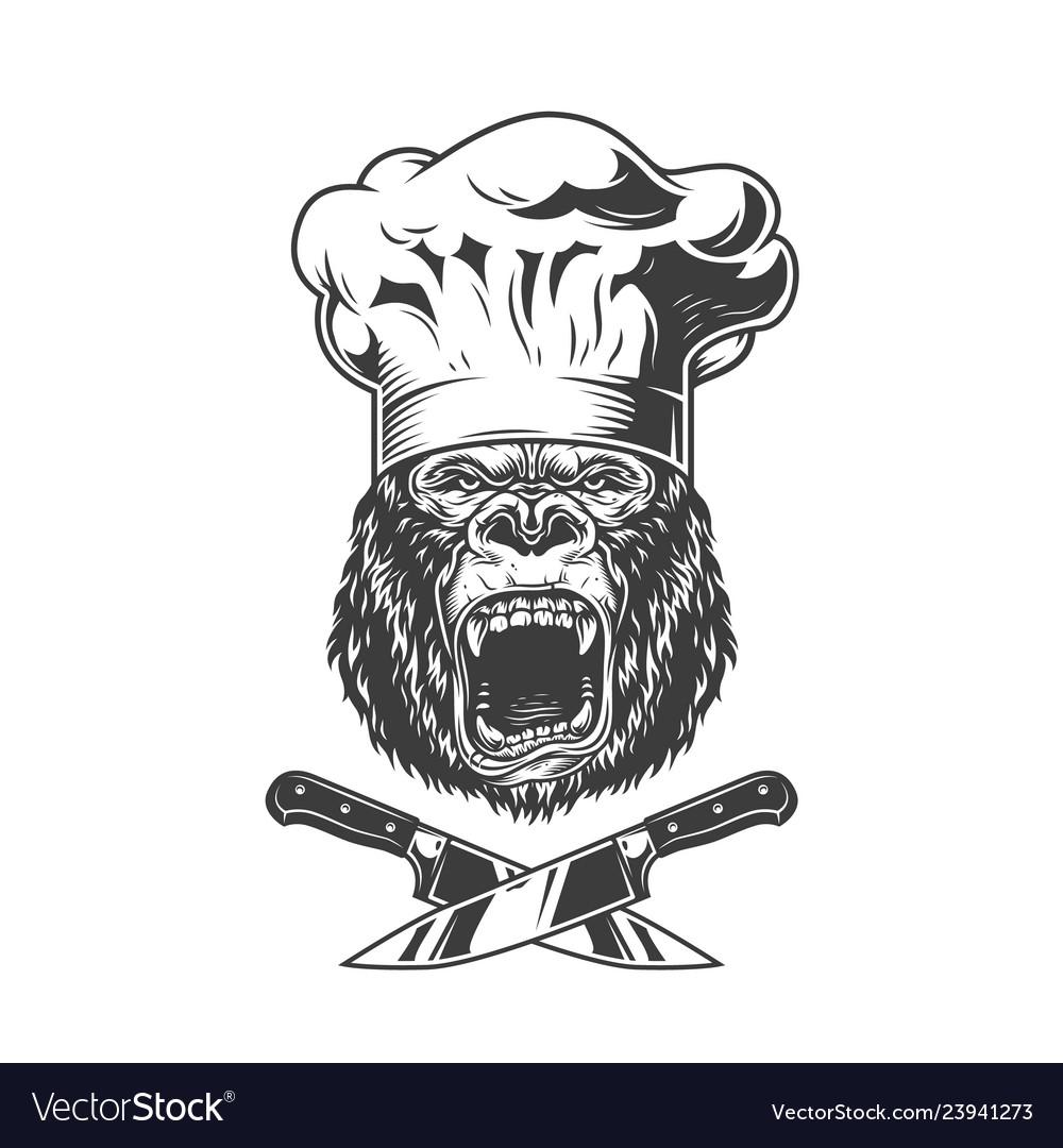 Vintage angry chef gorilla head