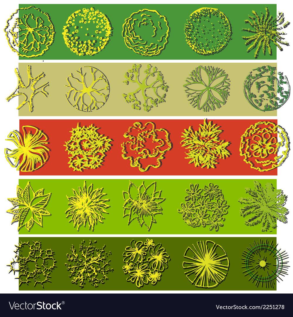 A set of treetop symbols