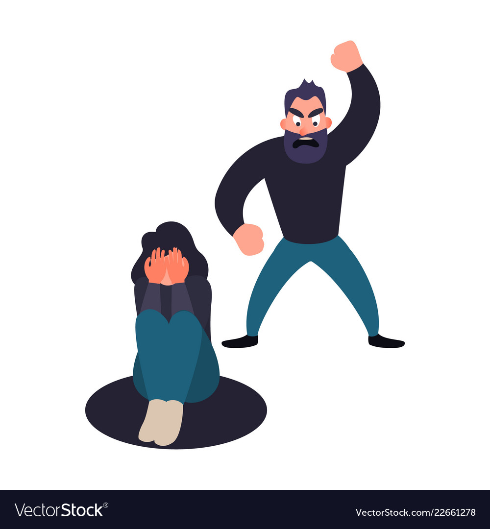 Abuser man shouts at a girl