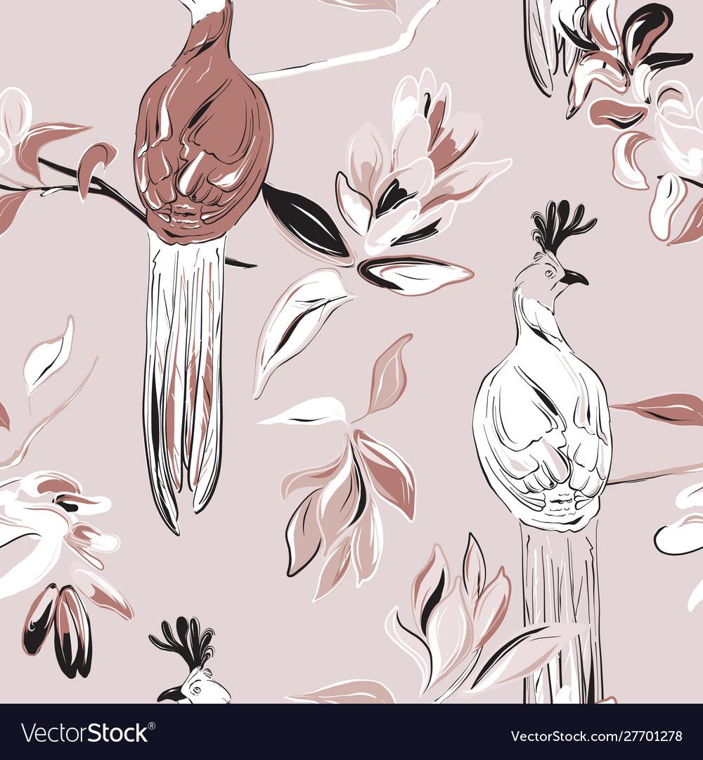 Botany flower and tender exotic birds repetiotion