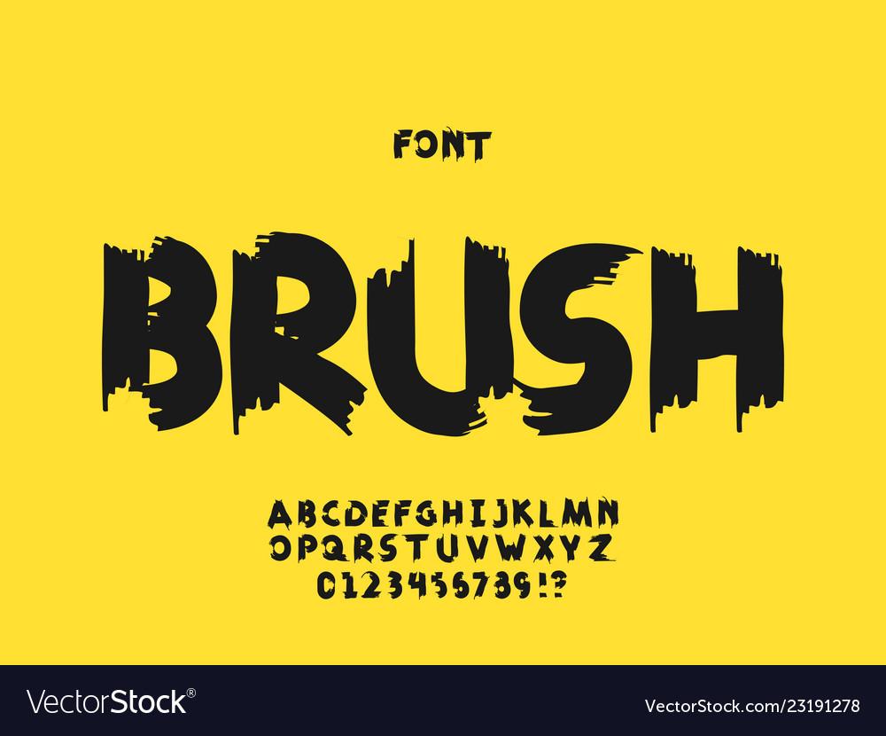 Brush font alphabet