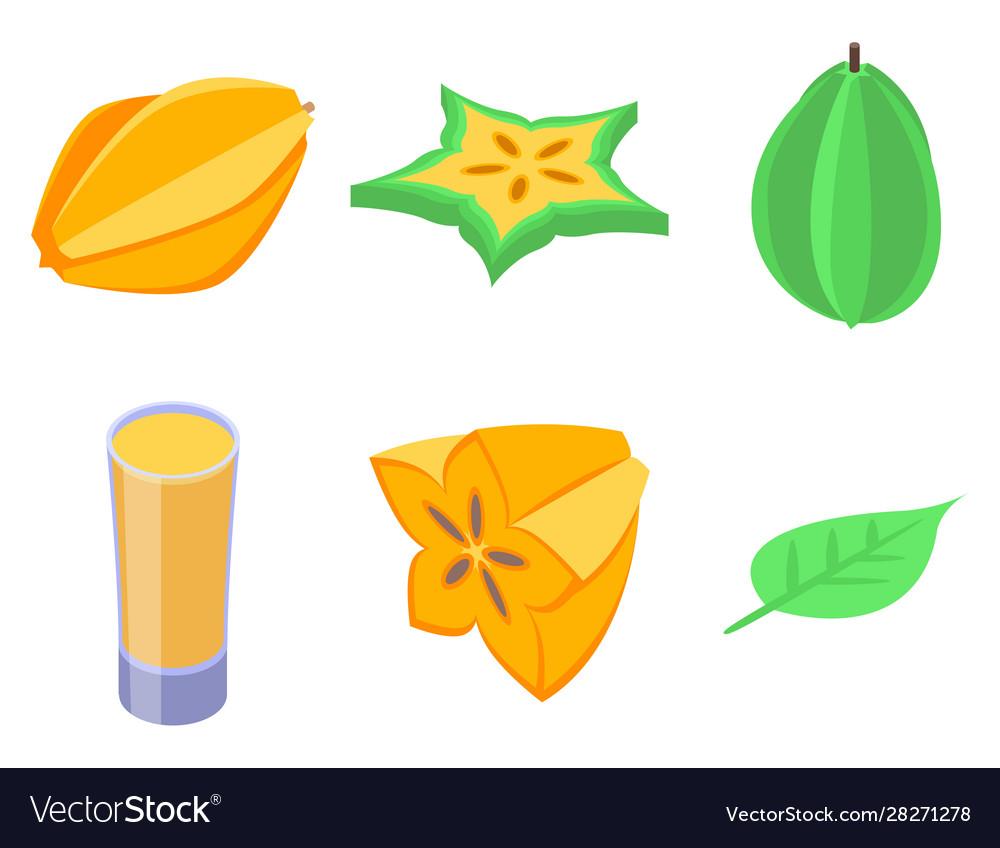 Carambola icons set isometric style