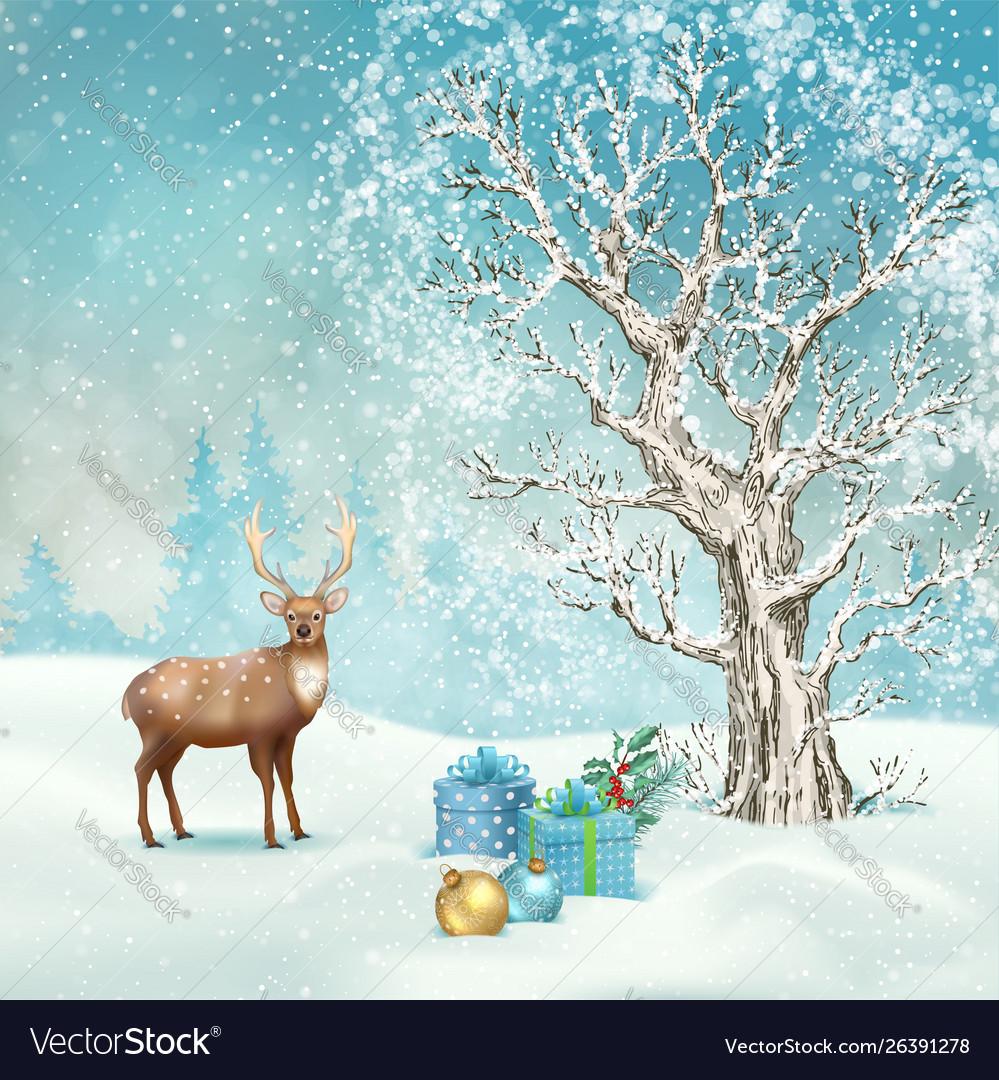 christmas winter scene royalty free vector image vectorstock