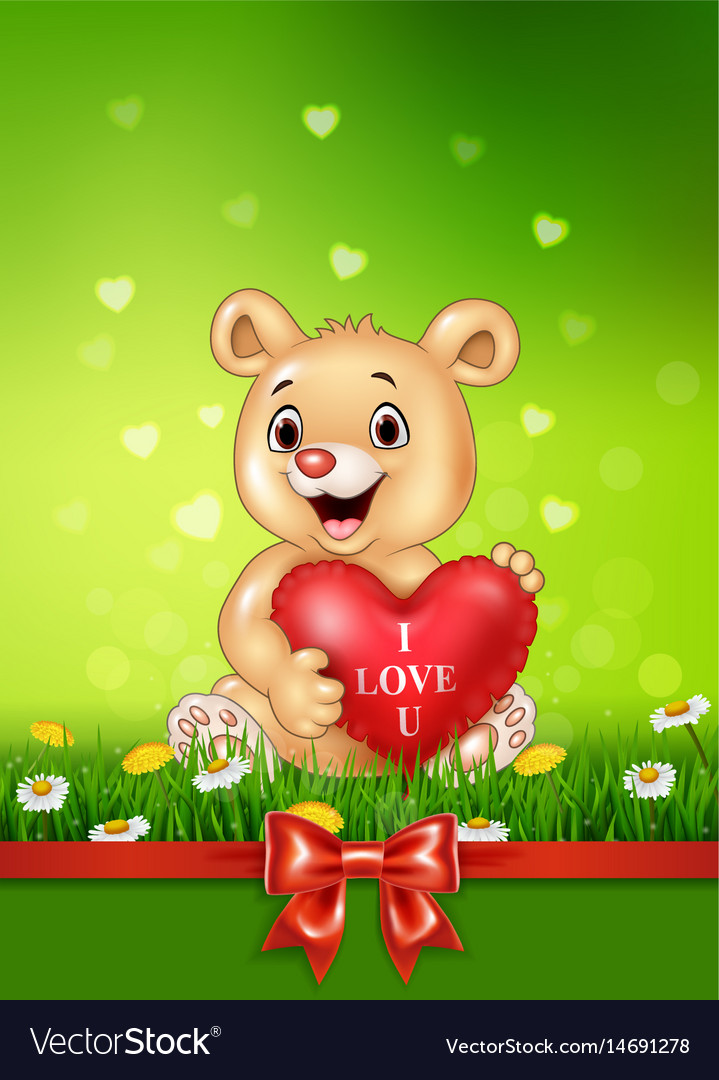 Cute bear holding red heart balloons on green gras