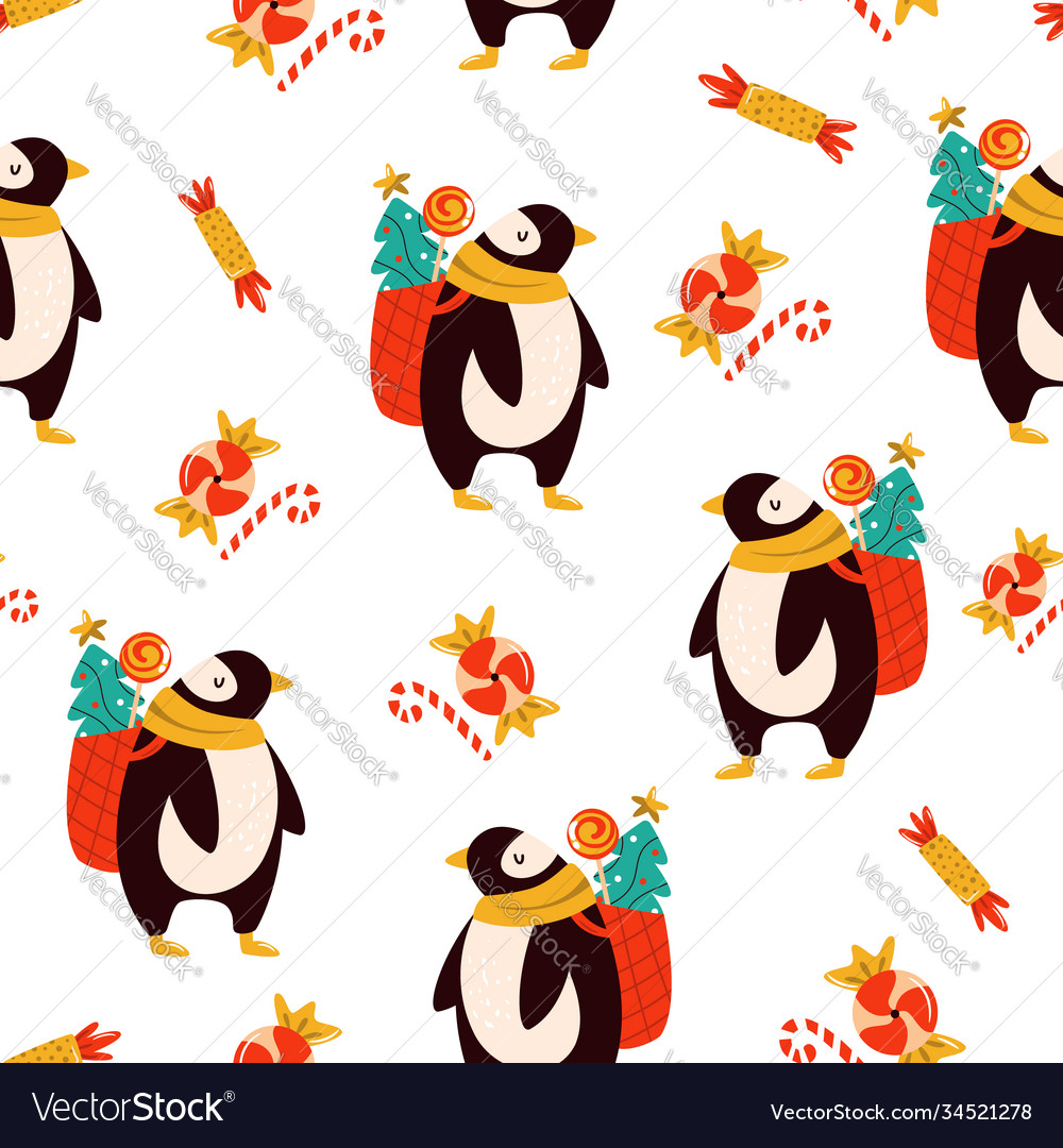 Festive seamless pattern with cute penguins