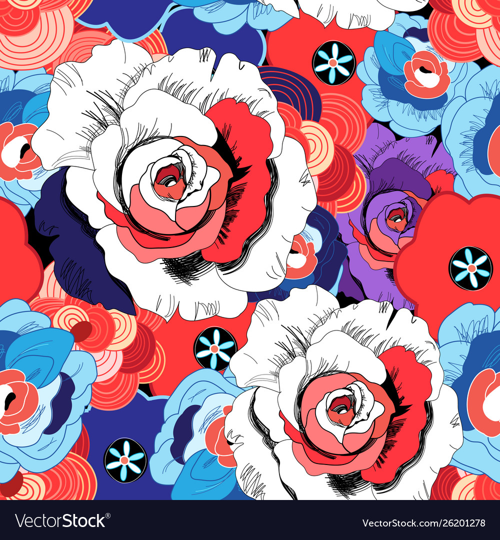 Floral bright pattern roses and other flowers