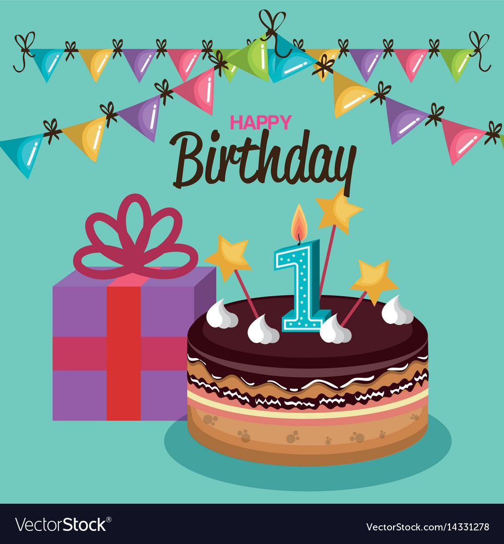 Happy Birthday Cake With Candle Number Royalty Free Vector