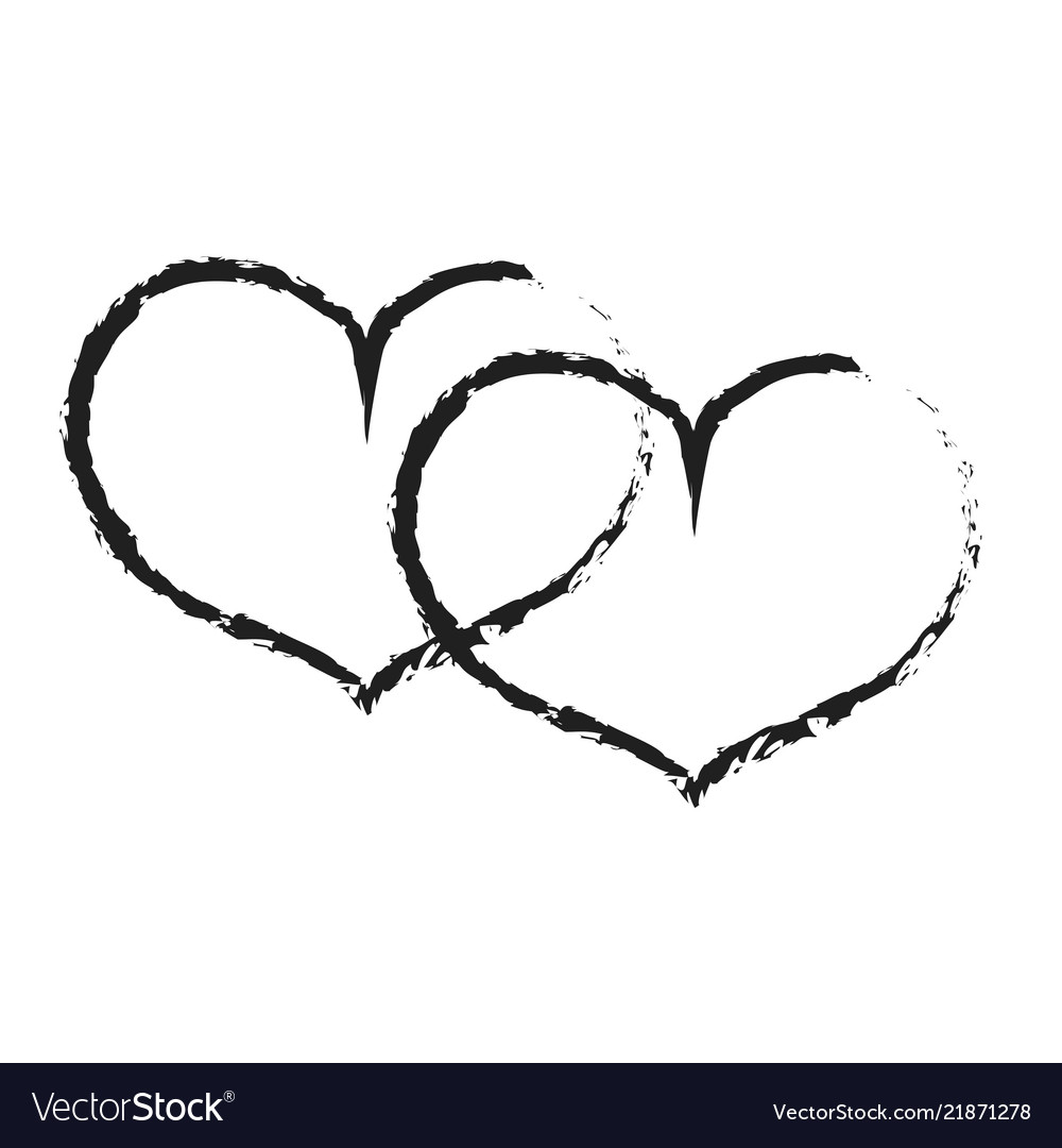 Sign black double heart 301