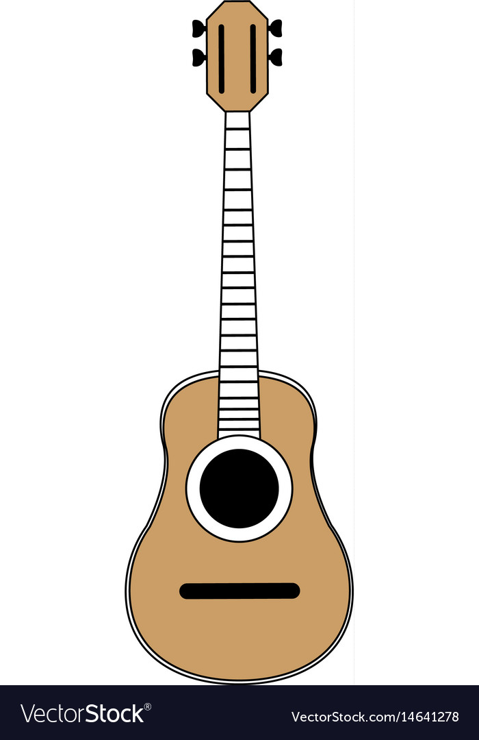 Sketch color silhouette acoustic guitar musical vector image