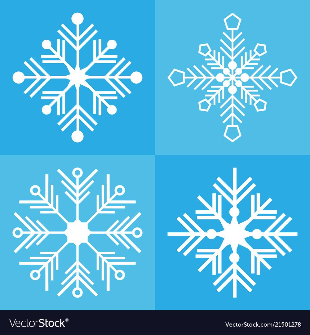 Snowflake icon background set blue color