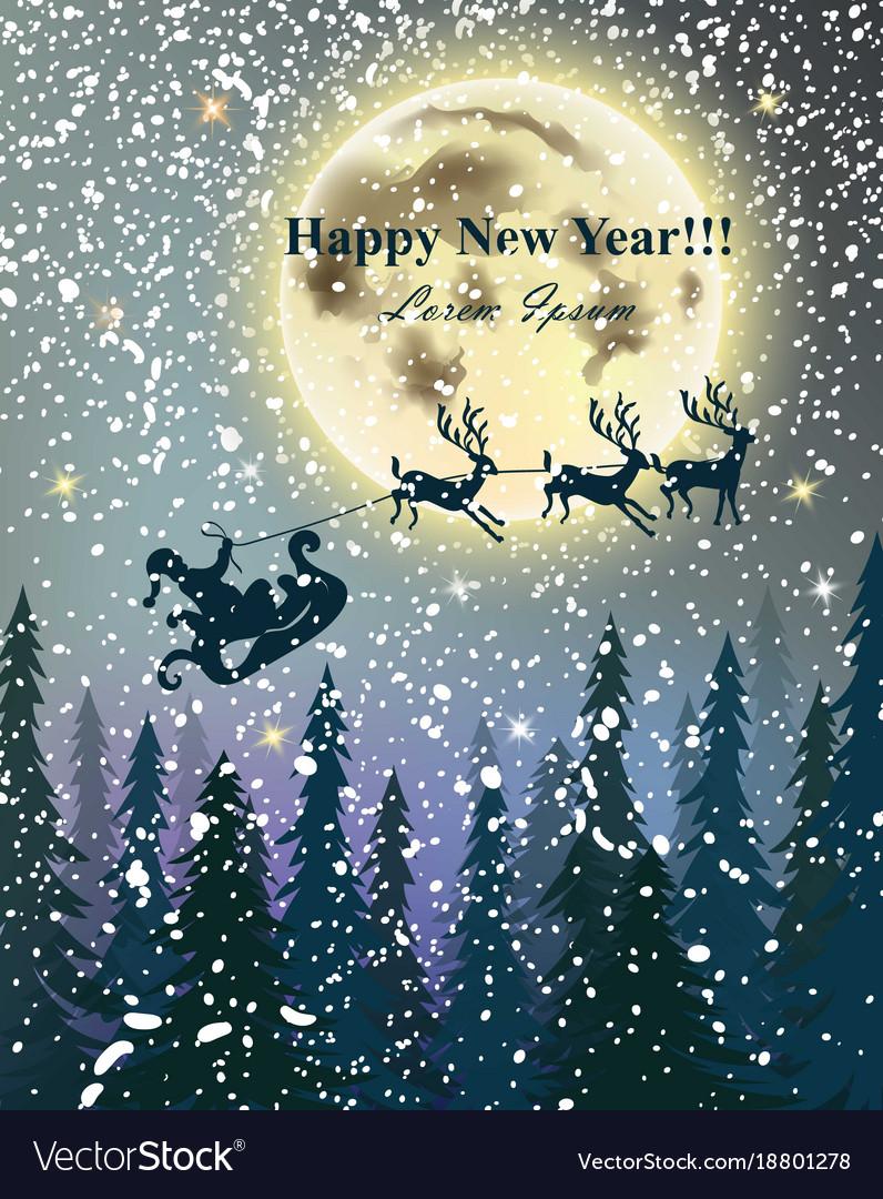 Winter card reindeers flying over full moon snowy