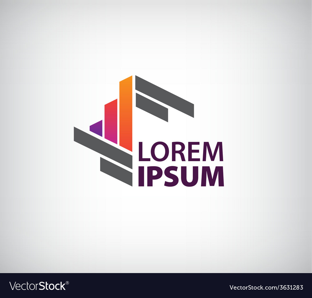 Abstract geometric icon logo isolated vector image