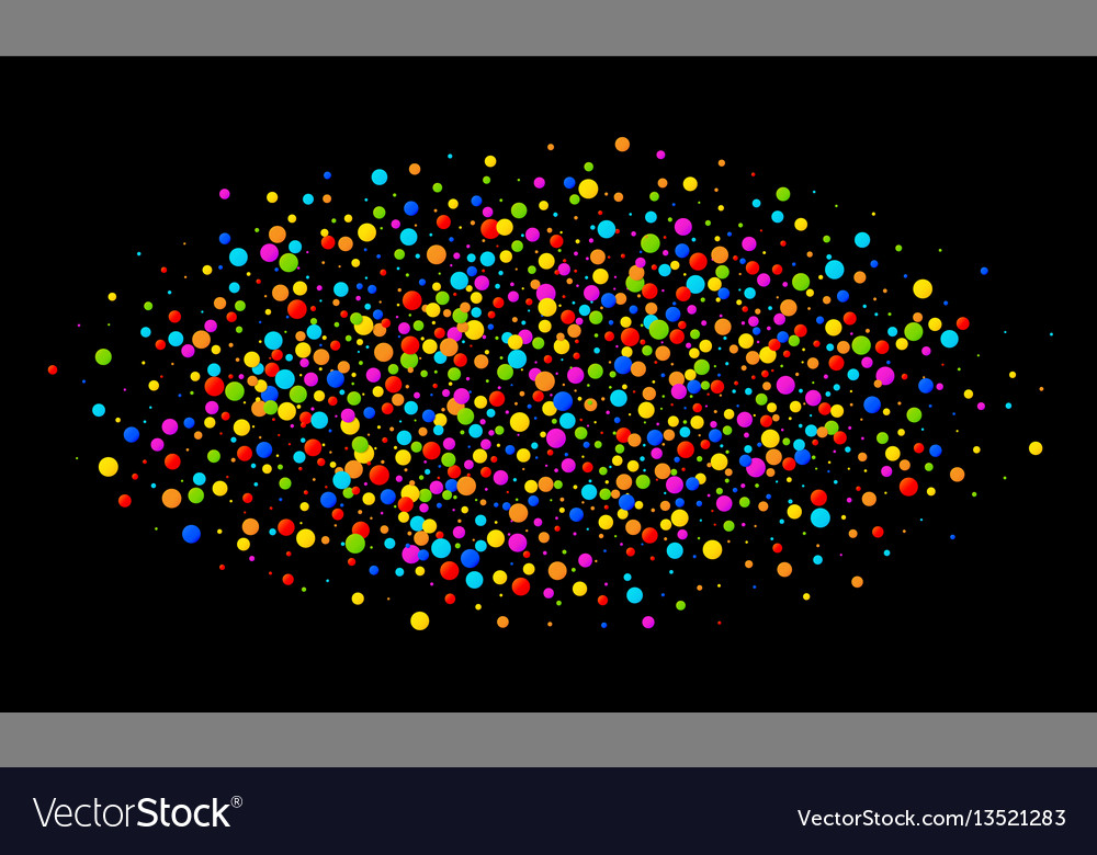 Colorful bright oval cloud confetti round papers