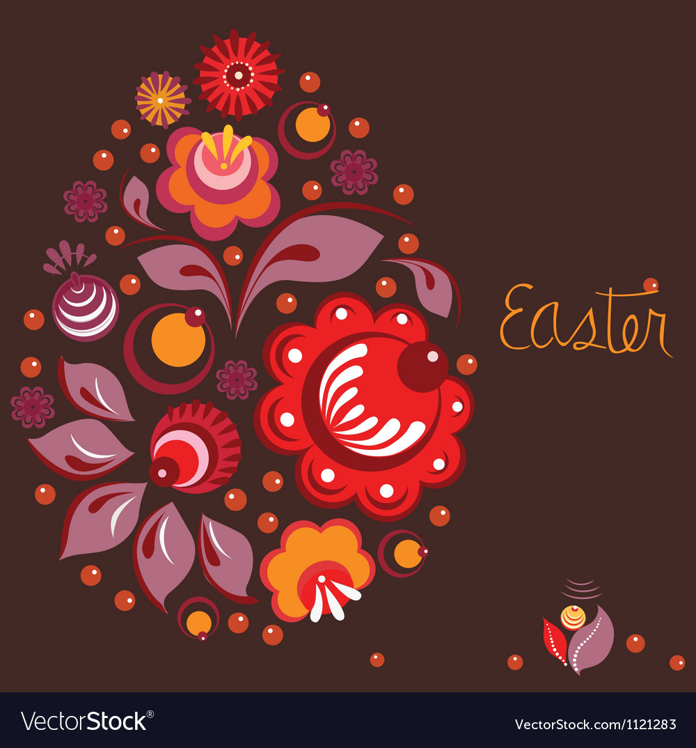 Easter greeting card in national russian style vector image m4hsunfo