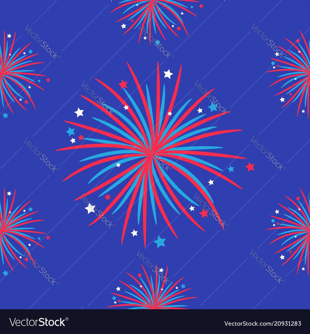 Fireworks night sky seamless pattern happy