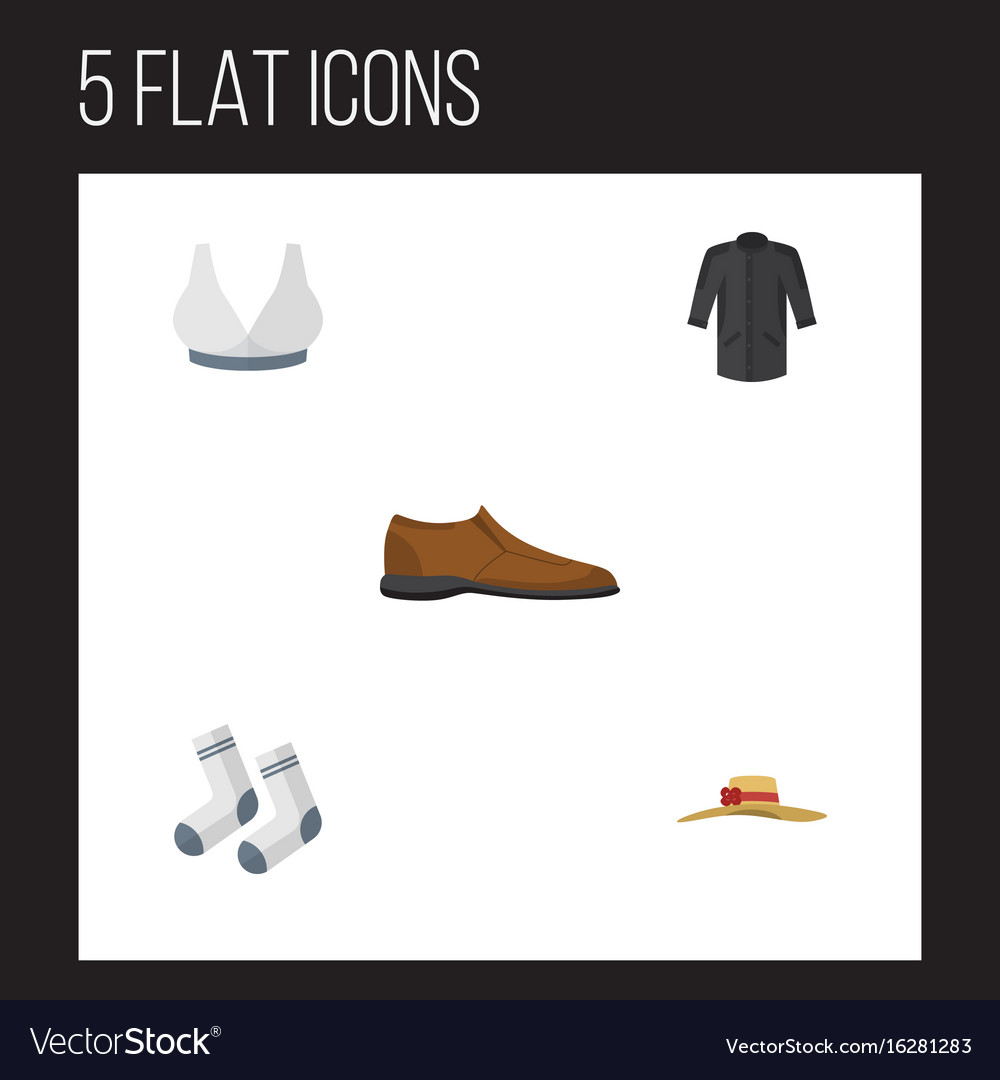 Flat icon clothes set of brasserie foot textile