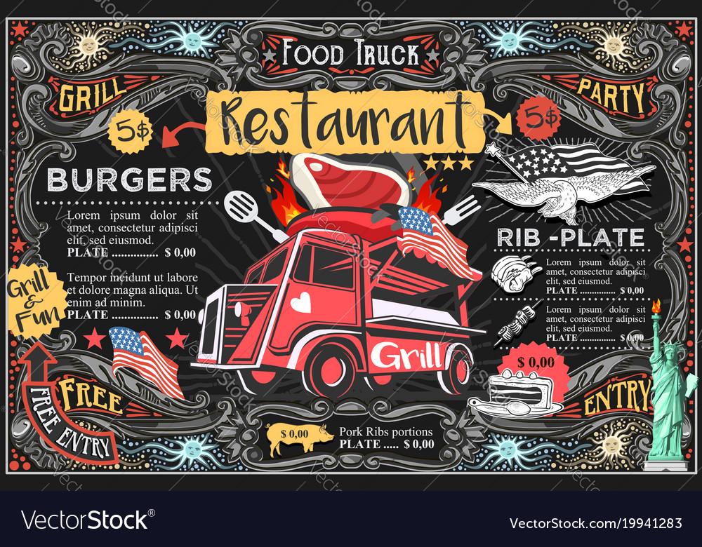 Food truck menu and logo